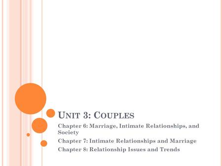 U NIT 3: C OUPLES Chapter 6: Marriage, Intimate Relationships, and Society Chapter 7: Intimate Relationships and Marriage Chapter 8: Relationship Issues.