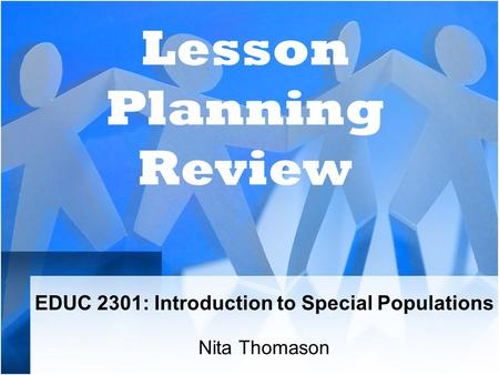 EDUC 2301: Introduction to Special Populations