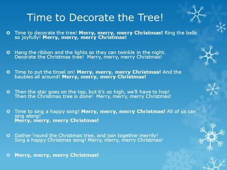Time to Decorate the Tree!