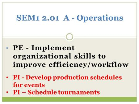 PE - Implement organizational skills to improve efficiency/workflow SEM1 2.01 A - Operations PI - Develop production schedules for events PI – Schedule.