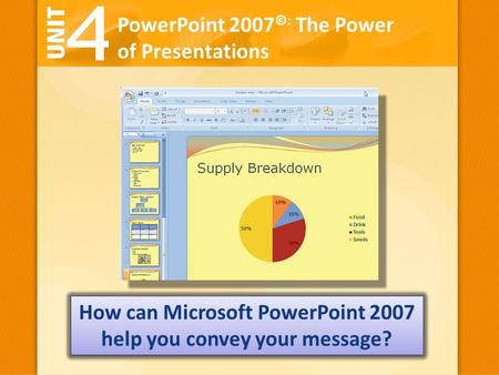 PowerPoint 2007 ©: The Power of Presentations How can Microsoft PowerPoint 2007 help you convey your message?