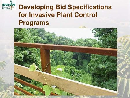 Developing Bid Specifications for Invasive Plant Control Programs.