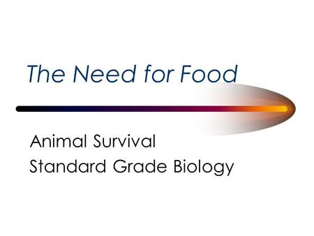 The Need for Food Animal Survival Standard Grade Biology.