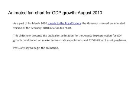 Animated fan chart for GDP growth: August 2010 As a part of his March 2010 speech to the Royal Society, the Governor showed an animated version of the.