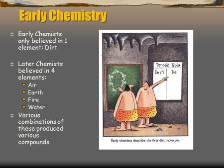 Early Chemistry  Early Chemists only believed in 1 element: Dirt  Later Chemists believed in 4 elements: Air Earth Fire Water  Various combinations.