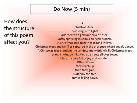 Do Now (5 min) A Christmas tree. Twinkling with lights Adorned with gold and silver tinsel. Softly sparkling in spirals on each branch. A Christmas tree.