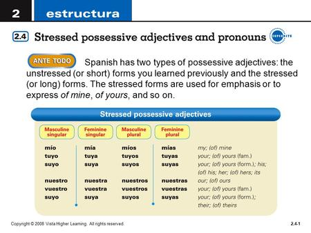 Copyright © 2008 Vista Higher Learning. All rights reserved.2.4-1  Spanish has two types of possessive adjectives: the unstressed (or short) forms you.