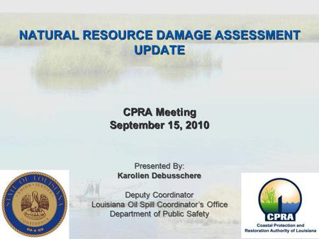 NATURAL RESOURCE DAMAGE ASSESSMENT UPDATE CPRA Meeting September 15, 2010 Presented By: Karolien Debusschere Deputy Coordinator Louisiana Oil Spill Coordinator's.