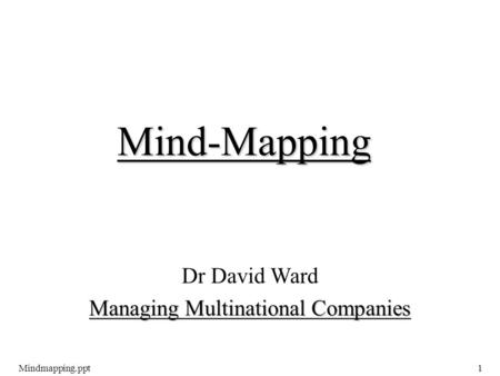 Mindmapping.ppt1 Dr David Ward Managing Multinational Companies Mind-Mapping.