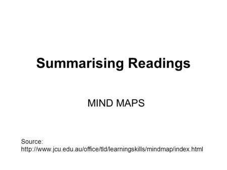 Summarising Readings MIND MAPS