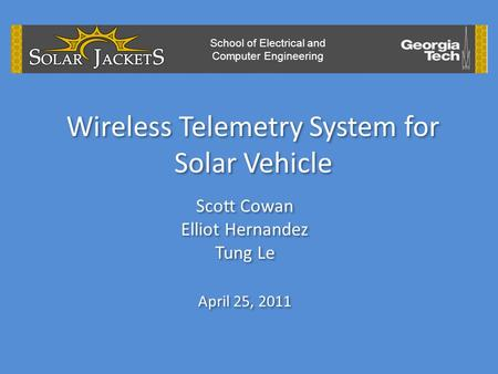 Wireless Telemetry System for Solar Vehicle