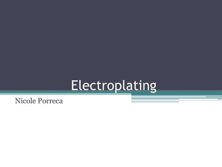 Electroplating Nicole Porreca. Electroplating- The processed used to cover zinc with copper in making coinage involves using direct-current (DC) electricity,