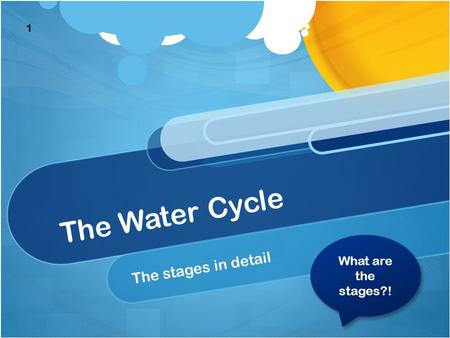 The Water Cycle The stages in detail What are the stages?! What are the stages?! 1.