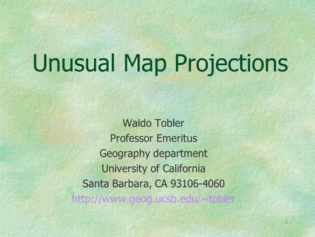Unusual Map Projections