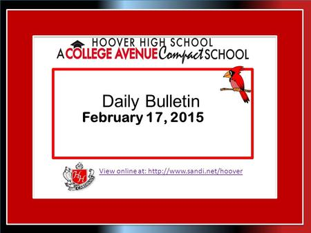 View online at:  Daily Bulletin February 17, 2015.