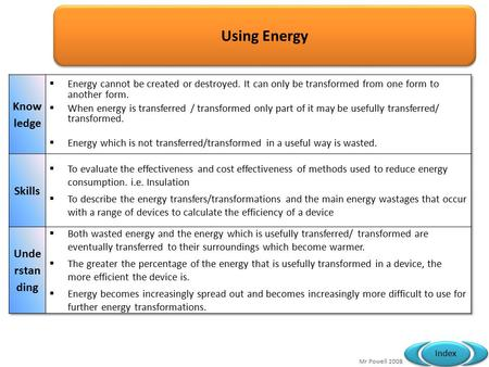 Mr Powell 2008 Index Using Energy. Mr Powell 2008 Index 2.1 Forms of energy  Both wasted energy and the energy which is usefully transferred/ transformed.