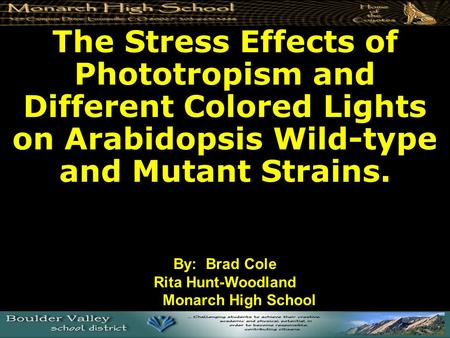 The Stress Effects of Phototropism and Different Colored Lights on Arabidopsis Wild-type and Mutant Strains. By: Brad Cole Rita Hunt-Woodland Monarch High.