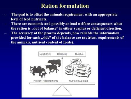 Ration formulation –The goal is to offset the animals requirement with an appropriate level of feed nutrients. –There are economic and possibly animal.