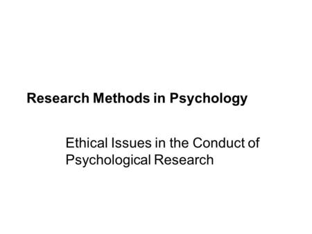 ethics in psychological research paper