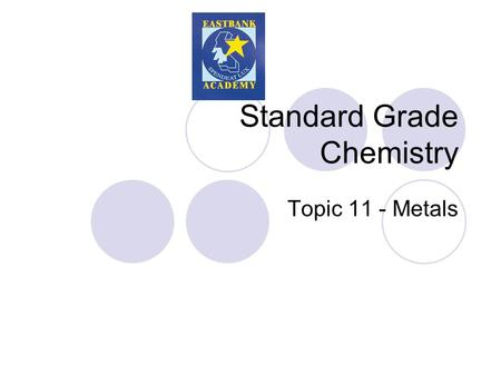 Standard Grade Chemistry Topic 11 - Metals. Properties of Metals Density – this is the mass of a substance in a given volume.  A high density material.
