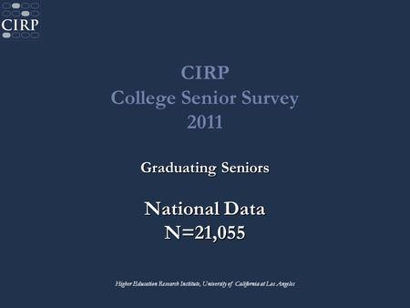 CIRP College Senior Survey 2011 Graduating Seniors National Data N=21,055 Higher Education Research Institute, University of California at Los Angeles.