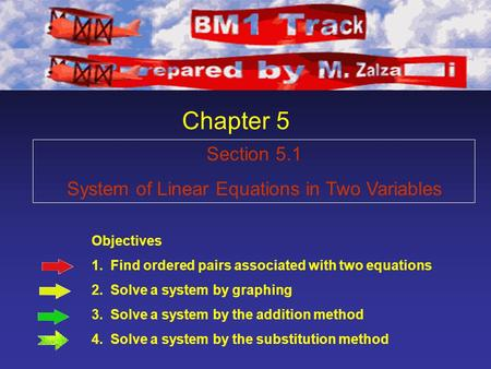 Chapter 5 Objectives 1. Find ordered pairs associated with two equations 2. Solve a system by graphing 3. Solve a system by the addition method 4. Solve.