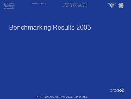Thursday 12th MayPRCA Annual Conference on Consultancy Management Benchmarking Results 2005 PRCA Benchmark Survey 2005 - Confidential PRCA Benchmarking.
