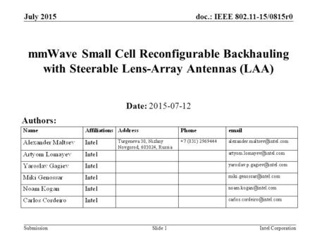 Doc.: IEEE 802.11-15/0815r0 Submission July 2015 Intel CorporationSlide 1 mmWave Small Cell Reconfigurable Backhauling with Steerable Lens-Array Antennas.