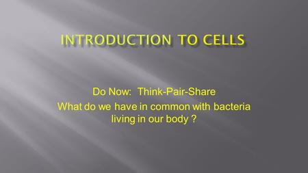 Do Now: Think-Pair-Share What do we have in common with bacteria living in our body ?