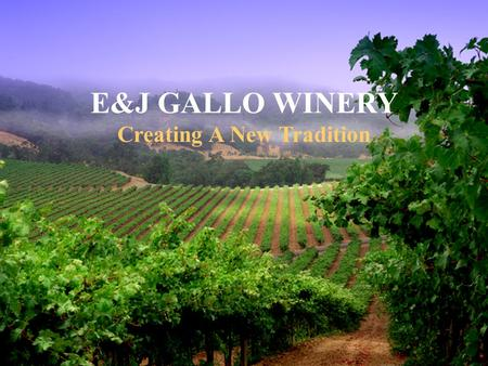 E&J GALLO WINERY Creating A New Tradition The E&J Gallo Winery is the largest private winery in the world. Gallo wines account for one in every four.