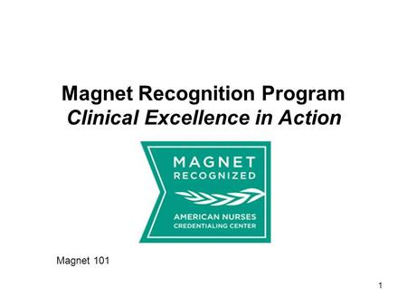 Magnet Recognition Program Clinical Excellence in Action