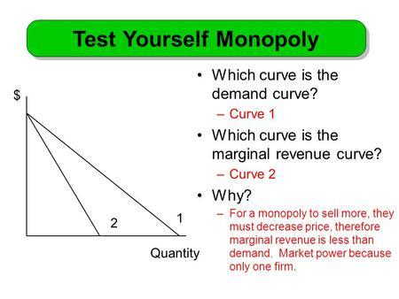 Which curve is the demand curve? –Curve 1 Which curve is the marginal revenue curve? –Curve 2 Why? –For a monopoly to sell more, they must decrease price,