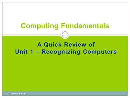 A Quick Review of Unit 1 – Recognizing Computers Computing Fundamentals © CCI Learning Solutions.