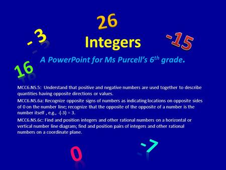 Integers A PowerPoint for Ms Purcell's 6th grade.