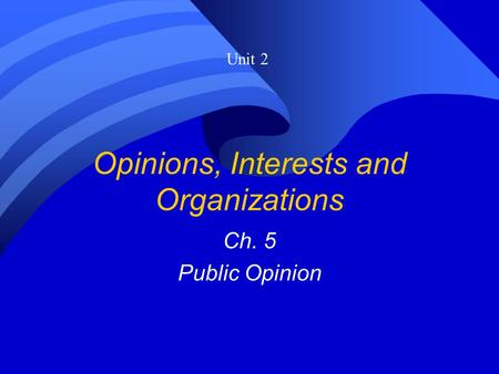 Opinions, Interests and Organizations Ch. 5 Public Opinion Unit 2.