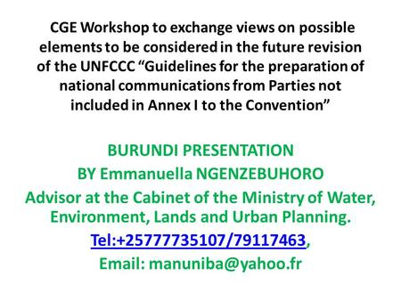"CGE Workshop to exchange views on possible elements to be considered in the future revision of the UNFCCC ""Guidelines for the preparation of national communications."