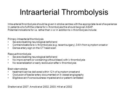 Intraarterial Thrombolysis