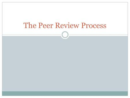 The Peer Review Process. What is a Peer Review? A peer review is a formal review of a document produced by a colleague, fellow scholar, or expert. Peer.