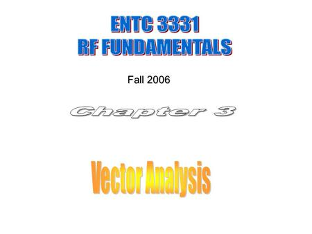 Fall 2006. Scalar Quantity (mass, speed, voltage, current and power) 1- Real number (one variable) 2- Complex number (two variables) Vector Algebra (velocity,