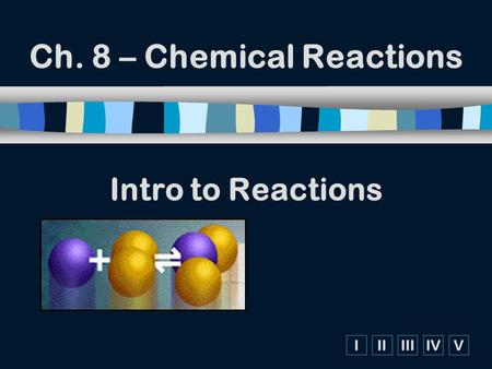 IIIIIIIVV Intro to Reactions Ch. 8 – Chemical Reactions.
