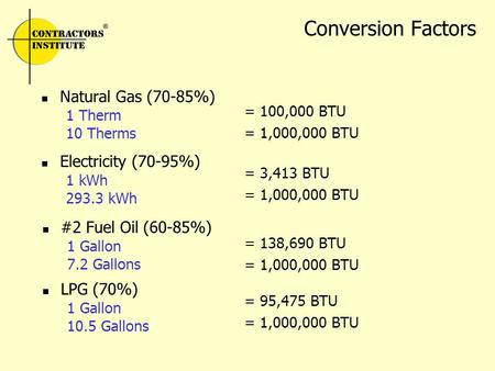 Conversion Factors Natural Gas (70-85%) 1 Therm 10 Therms Electricity (70-95%) 1 kWh 293.3 kWh #2 Fuel Oil (60-85%) 1 Gallon 7.2 Gallons LPG (70%) 1 Gallon.