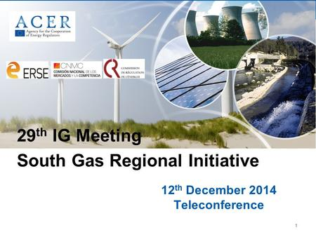 1 12 th December 2014 Teleconference 29 th IG Meeting South Gas Regional Initiative.