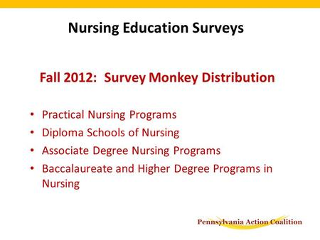 Fall 2012: Survey Monkey Distribution Practical Nursing Programs Diploma Schools of Nursing Associate Degree Nursing Programs Baccalaureate and Higher.