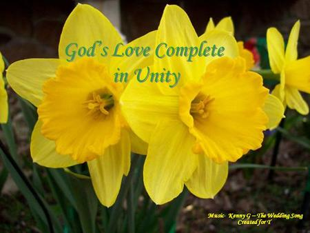 . God's Love Complete in Unity God's Love Complete in Unity Music- Kenny G – The Wedding Song Created for T.