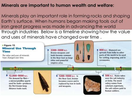 Minerals are important to human wealth and welfare: