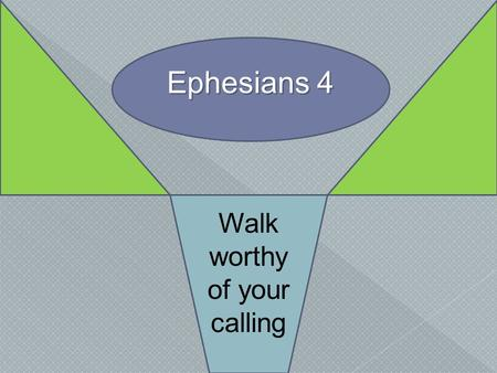 Ephesians 4 Walk worthy of your calling.  Our Wealth in Christ, Eph. 1-3 › One body, the church, 1:22-23; 2:15-16 › New condition…new relation, Eph.