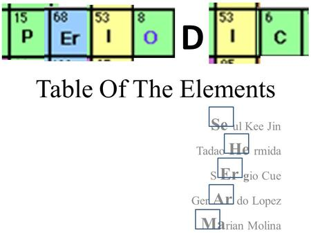 Table Of The Elements Se ul Kee Jin Tadao He rmida S Er gio Cue Ger Ar do Lopez Ma rian Molina D.