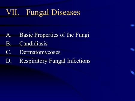 VII.Fungal Diseases A.Basic Properties of the Fungi B.Candidiasis C.Dermatomycoses D.Respiratory Fungal Infections.