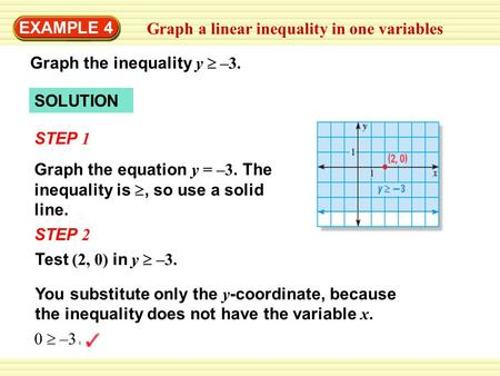EXAMPLE 4 Graph a linear inequality in one variables Graph the inequality y  –3. SOLUTION Graph the equation y = –3. The inequality is , so use a solid.