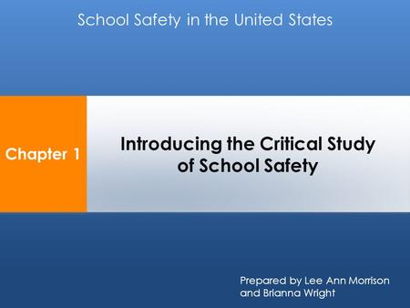 Chapter 1 Introducing the Critical Study of School Safety School Safety in the United States Prepared by Lee Ann Morrison and Brianna Wright.